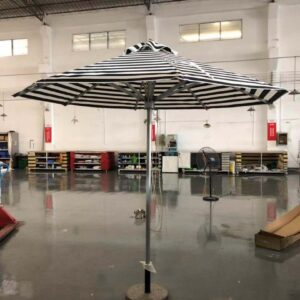 BLACK AND WHITE STRIPPED PARASOL